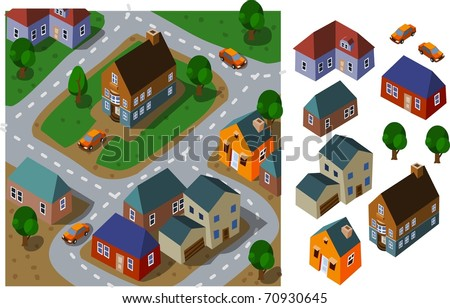 Neighborhood Isometric. Set of very detailed isometric vector