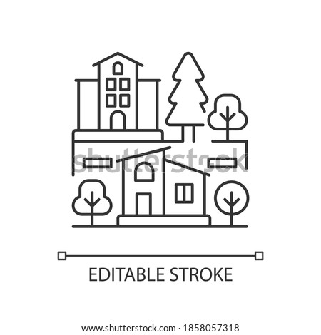 Neighborhood pixel perfect linear icon. Downtown district. Suburban living. Property types. hin line customizable illustration. Contour symbol. Vector isolated outline drawing. Editable stroke Photo stock ©