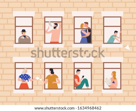 Neighbors and neighborhood concept vector flat illustration. Cartoon people living in house with open window frames. Building exterior or facade with man, woman and children inside apartments