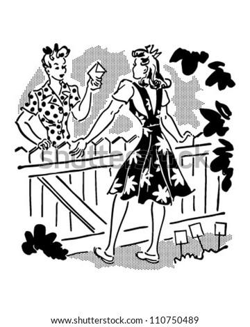 Neighbors Chatting Over Fence - Retro Clipart Illustration