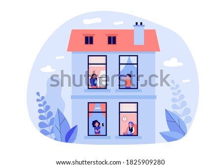 Neighbors enjoying leisure time at home. View through window, people practicing hobby flat vector illustration. Tenement house, neighborhood concept for banner, website design or landing web page