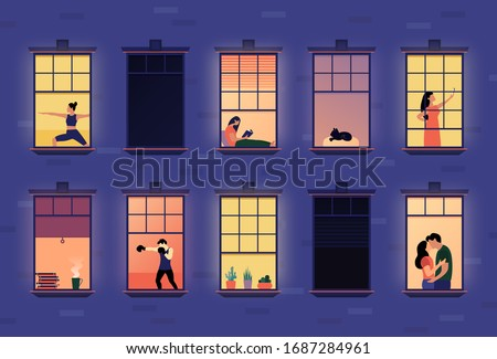 Neighbors in apartment windows. Cartoon neighborhood house building exterior with people in opened windows, indoors apartment set flat style. Vector illustration