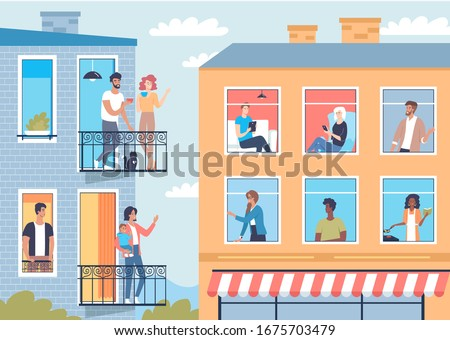 Neighbors in their apartments have fun and communication vector illustration