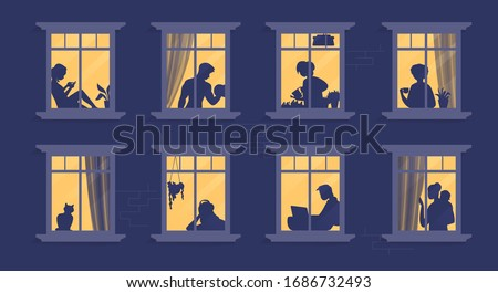 Neighbors in windows. Cartoon characters at their apartment reading book, cooking, watching TV and spending time together. Vector illustration evening home scene, silhouette or shadow people in window