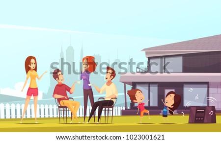 neighbors party cartoon vector