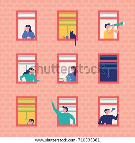 neighbors people character vector illustration flat design