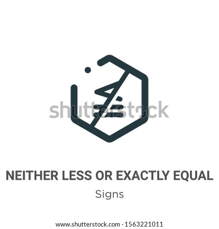 Neither less or exactly equal symbol vector icon on white background. Flat vector neither less or exactly equal symbol icon symbol sign from modern signs collection for mobile concept and web apps