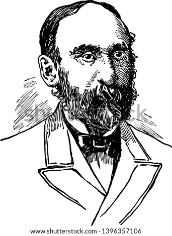 Nelson Dingley 1832 to 1899 he was a journalist politician from the U.S. state of Maine and governor of Maine vintage line drawing or engraving illustration