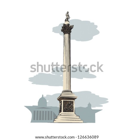 Nelson's Column of London illustration - layered graphic elements for flexible use