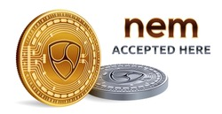 NEM. Accepted sign emblem. Crypto currency. Golden and silver coins with NEM symbol isolated on white background. 3D isometric Physical coins with text Accepted Here. Stock vector illustration.