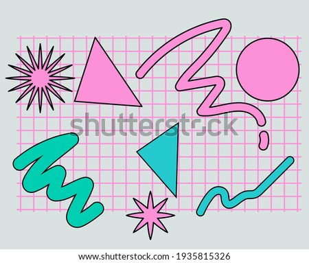 Neo-memphis abstract background with geometric shapes. Vaporwave and retrowave style.