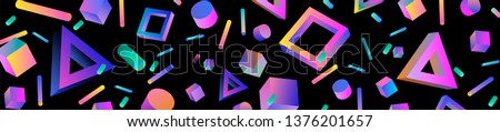 Neo memphis/ bauhaus/ retrowave abstract background. Neon holographic chromatic 3d shapes - polygon, cube, prism, cylinder, cuboid, ect. Retrofuturistic print for t-shirt, notebook, poster, cover.