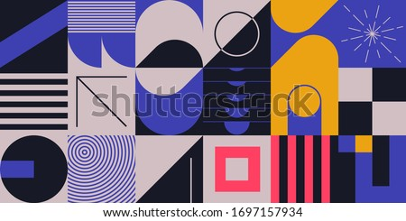Neo Modernism artwork pattern made with abstract vector geometric shapes and forms. Simple form bold graphic design, useful for web art, invitation cards, posters, prints, textile, backgrounds.
