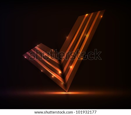 neon abstract check mark. vector illustration