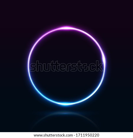 Neon abstract round. Glowing frame. Vector illustration
