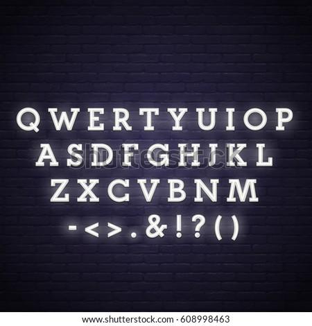 Neon Alphabet. Neon lettering.