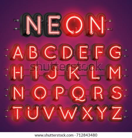 neon alphabet typography with