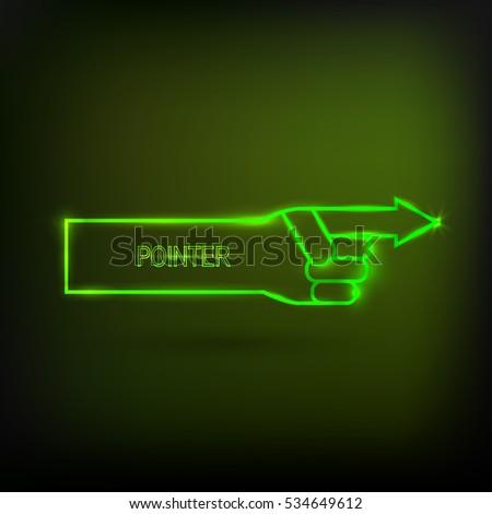 neon arrow pointer  glowing