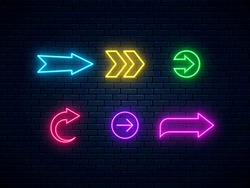 Neon arrow signs collection. Bright arrow pointer symbols on brick wall background. Set of colorful neon arrows, web icons. Banner design, bright advertising signboard elements. Vector illustration.