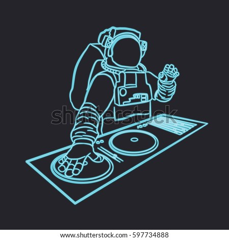 neon astronaut dj vector