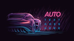 Neon automobile illustration. Vector.