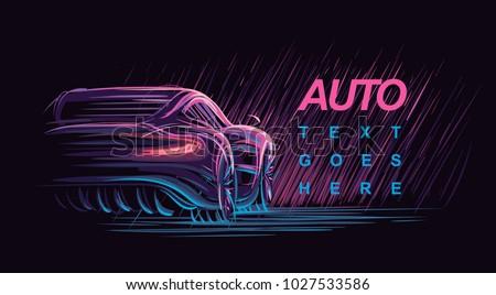 Neon automobile illustration. Vector.