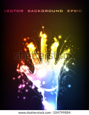 neon background Hand