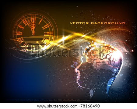 neon background with clock