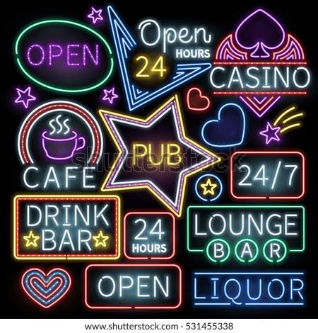 Neon bar illumination vector signs