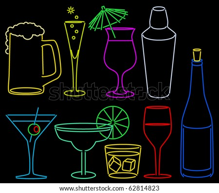 Neon bar set with cocktail glasses shaker and bottle - stock vector