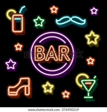 Neon Bar symbols. Retro label bar shoe, a mustache and a cocktail. Burning a pointer to a black wall in a club, bar or cafe. Design element for your ad, signs, posters, banners. Vector illustration