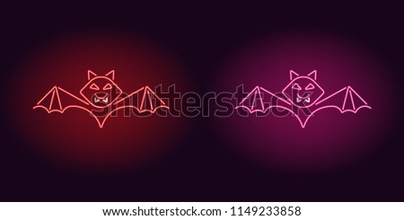 neon bat in red and pink color