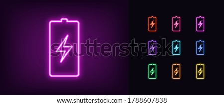 Neon battery icon. Neon charge battery sign with lightning, set of isolated electric accumulator in vivid colors. Charger, charge station. Glowing icon, sign, symbol for UI design. Vector illustration Photo stock ©