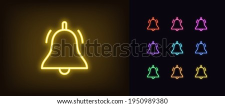 Neon bell icon. Glowing neon bell sign, outline notification pictogram in vivid colors. Online push notification, reminder sound alert, active alarm setting, updating. Vector icon set, sign for UI
