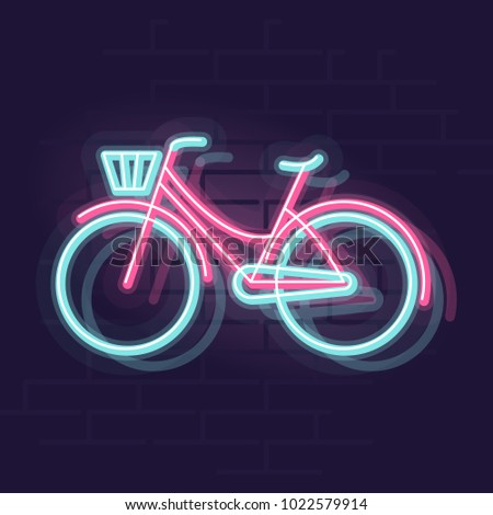 neon bicycle silhouette night