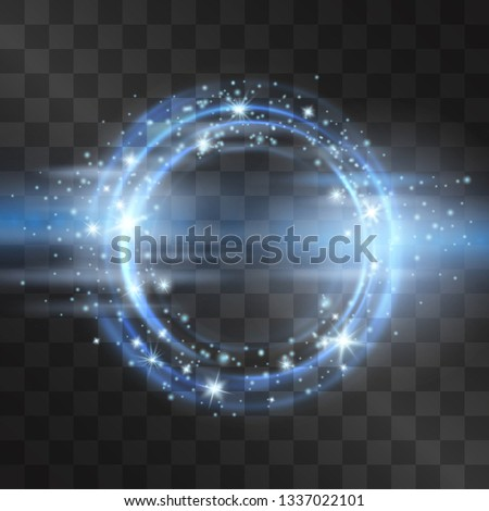Neon blue circle flare frame with glowing tail of shining stardust sparkles, cold illumination. Glistening blizzard ring in motion, outer space light effect portal. Luxurious design. Winter whirlwind.