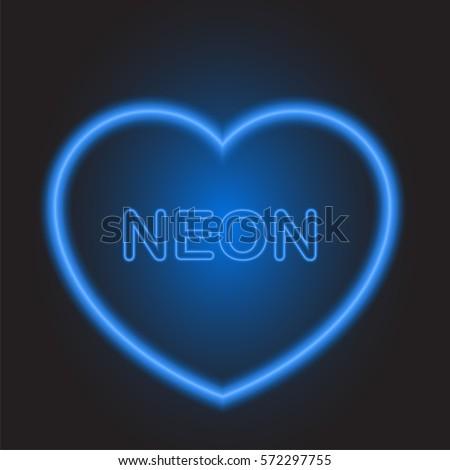 neon blue heart on valentine