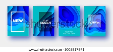 Neon Blue Paper Cut Wave Shapes. Layered curve Origami design for business presentations, flyers, posters. Set of 4 vertical banners. 3D abstract map carving. Text. Frame.
