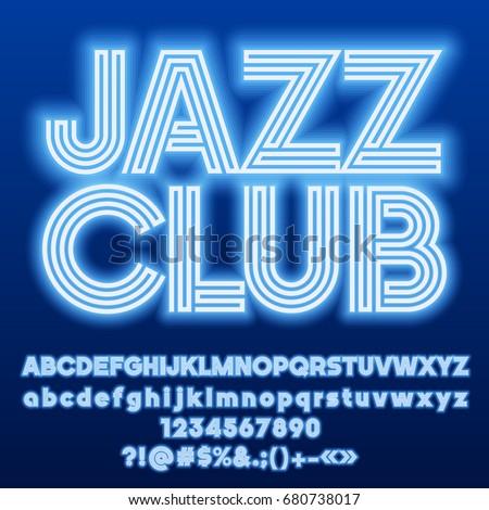 neon blue set of alphabet