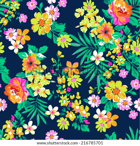 neon bright floral print seamless vector background