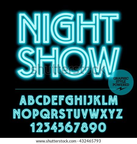 neon bright set of alphabet