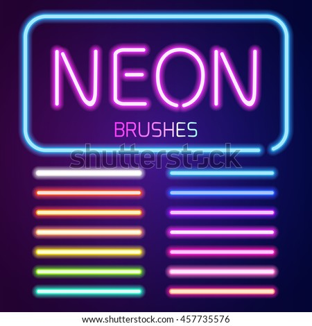 Neon brushes set. Set of colorful light objects on dark background.