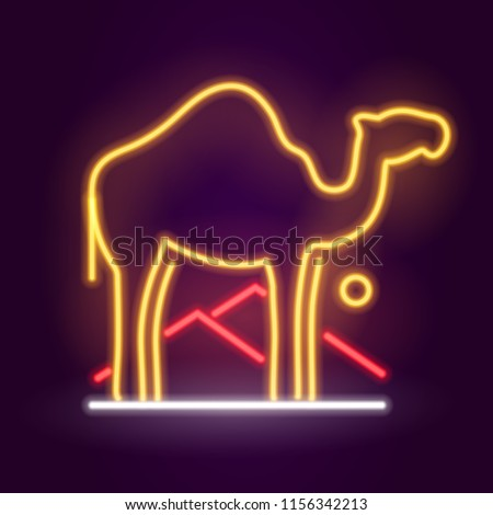 Neon Camel Icon sign. Glowing light banner. Night bright signboard. Summer logo, fashion Cigarette emblem. Club Bar concept on dark background. Editable vector.