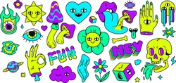 Neon cartoon psychedelic hippy stickers with mushrooms and eyes. Hallucination elements, heart, skull, emoji and ok hand. Groovy vector set of psychedelic and hallucination elements