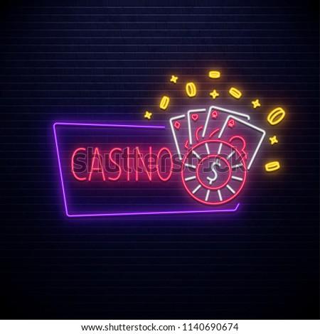 neon casino icon isolated on brick wall