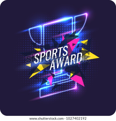 Neon champions Cup. Sports trophy, a prize to the winner. Vector illustration.