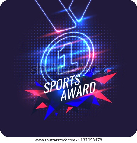 Neon champions medal. Sports trophy, a prize to the winner. Vector illustration.