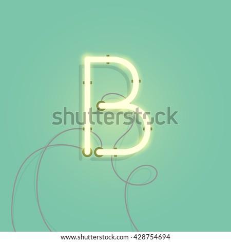 neon character b vector