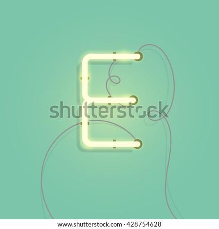 neon character e vector