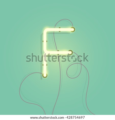 neon character f vector